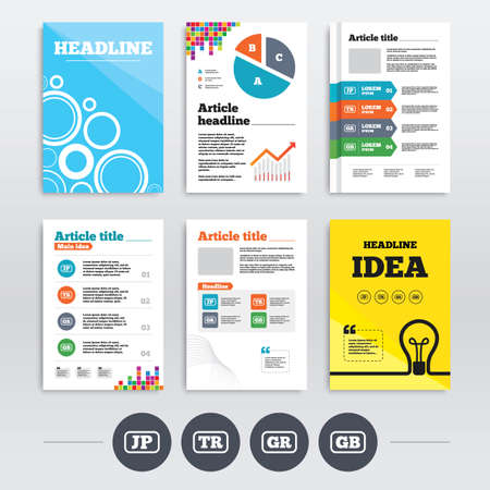 Brochure design and A4 flyers. Language icons. JP, TR, GR and GB translation symbols. Japan, Turkey, Greece and England languages. Infographics templates set. Vector