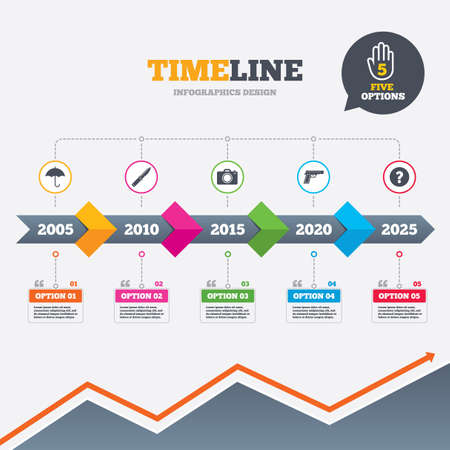 Timeline infographic with arrows. Gun weapon icon.Knife, umbrella and photo camera signs. Edged hunting equipment. Prohibition objects. Five options with hand. Growth chart. Vector
