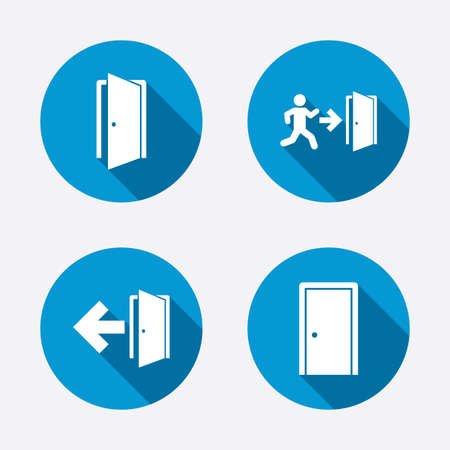 Doors icons. Emergency exit with human figure and arrow symbols. Fire exit signs. Circle concept web buttons. Vector