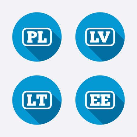 Language icons. PL, LV, LT and EE translation symbols