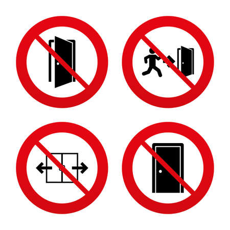 No, Ban or Stop signs. Automatic door icon. Emergency exit with human figure and arrow symbols. Fire exit signs. Prohibition forbidden red symbols. Vector