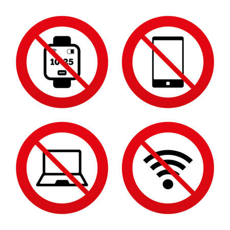 No, Ban or Stop signs. Notebook and smartphone icons. Smart watch symbol. Wi fi and battery energy signs. Wireless Network symbol. Mobile devices. Prohibition forbidden red symbols. Vector