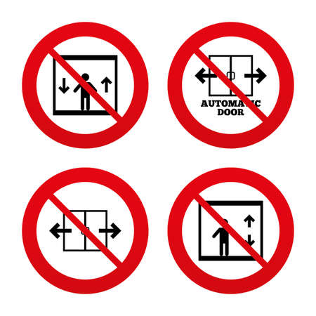 No, Ban or Stop signs. Automatic door icons. Elevator symbols. Auto open. Person symbol with up and down arrows. Prohibition forbidden red symbols. Vector