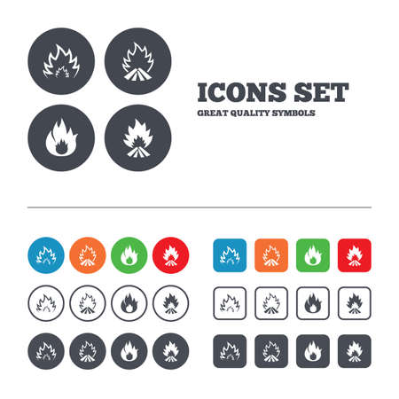 Fire flame icons. Heat symbols. Inflammable signs. Web buttons set. Circles and squares templates. Vector