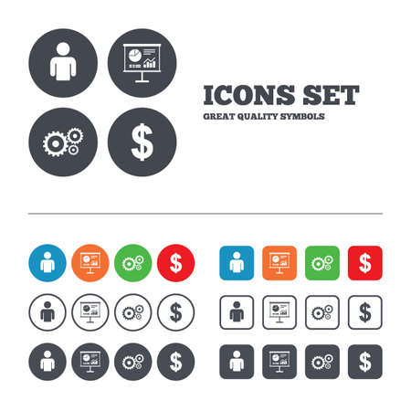 Business icons. Human silhouette and presentation board with charts signs. Dollar currency and gear symbols. Web buttons set. Circles and squares templates. Vector