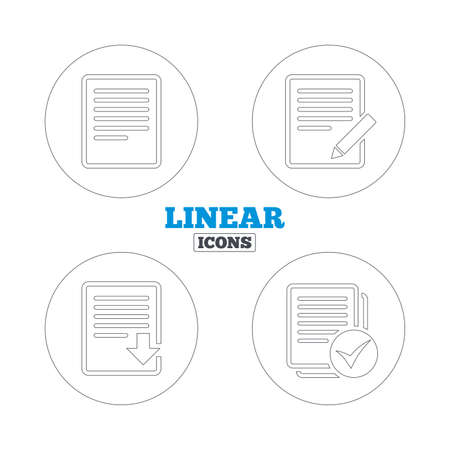 File download  Set of line icons  Red, green, yellow and