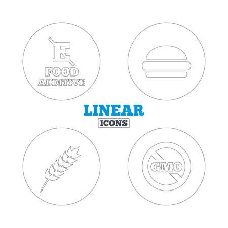 Food additive icon  Hamburger fast food sign  Gluten free