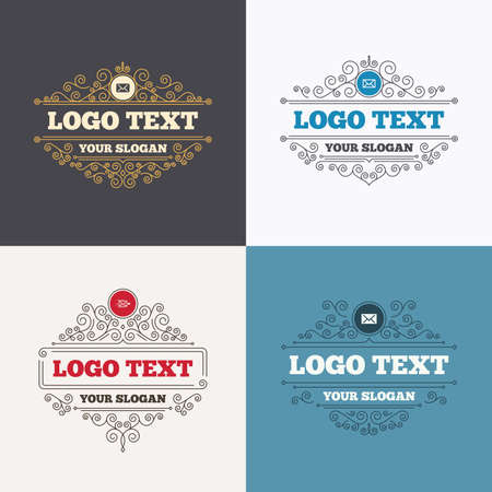 Flourishes calligraphic emblems. Mail envelope icons. Message delivery symbol. Post office letter signs. Luxury ornament lines. Vector