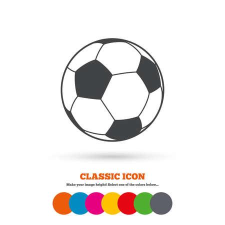 Ilustración de Football ball sign icon. Soccer Sport symbol. Classic flat icon. Colored circles. Vector - Imagen libre de derechos