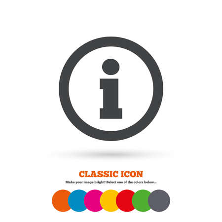 Information sign icon. Info symbol. Classic flat icon. Colored circles. Vector