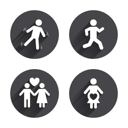 Women pregnancy icon. Human running symbol. Man love Woman or Lovers sign. Circles buttons with long flat shadow. Vector