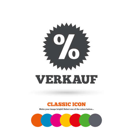 Verkauf - Sale in German sign icon. Star with percentage symbol. Classic flat icon. Colored circles. Vector