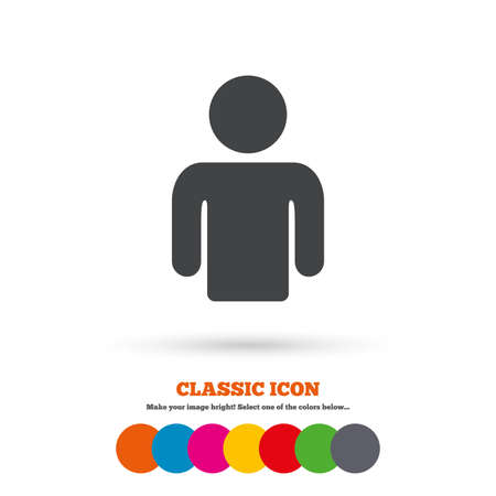 User sign icon. Person symbol. Human avatar. Classic flat icon. Colored circles. Vector