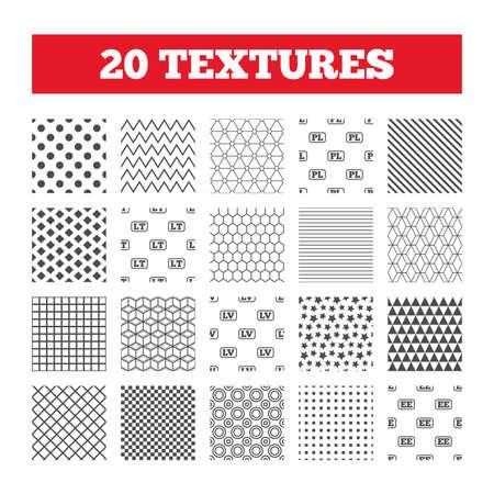 Seamless patterns. Endless textures. Language icons. PL, LV, LT and EE translation symbols. Poland, Latvia, Lithuania and Estonia languages. Geometric tiles, rhombus. Vector