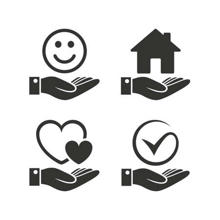 Smile and hand icon  Heart and Tick or Check symbol  Palm holds