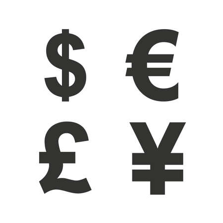 Dollar, Euro, Pound and Yen currency icons. USD, EUR, GBP and JPY money sign symbols. Flat icons on white. Vector