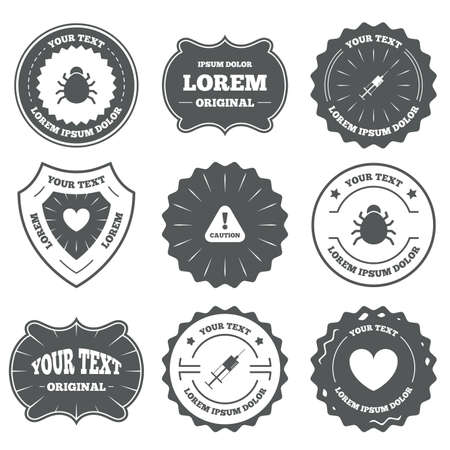 Vintage emblems, labels. Bug and vaccine syringe injection icons. Heart and caution with exclamation sign symbols. Design elements. Vector