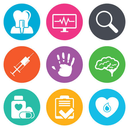 Medicine, medical health and diagnosis icons. Blood, syringe injection and neurology signs. Tooth implant, magnifier symbols. Flat circle buttons. Vector