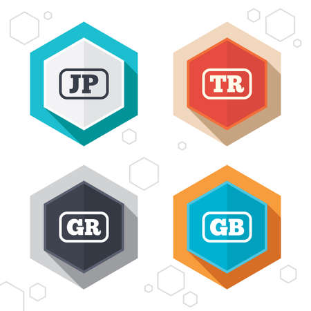 Hexagon buttons. Language icons. JP, TR, GR and GB translation symbols. Japan, Turkey, Greece and England languages. Labels with shadow. Vector