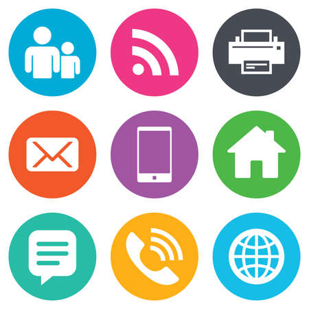 Contact, mail icons. Communication signs. E-mail, chat message and phone call symbols. Flat circle buttons. Vector