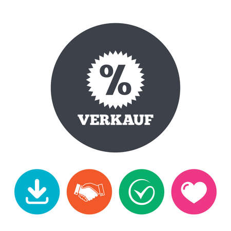 Verkauf - Sale in German sign icon. Star with percentage symbol. Download arrow, handshake, tick and heart. Flat circle buttons.