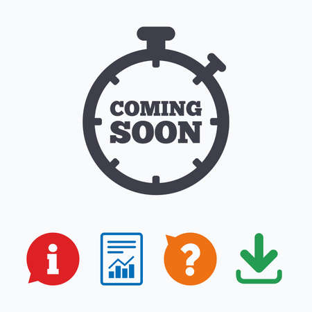 Coming soon sign icon. Promotion announcement symbol. Information think bubble, question mark, download and report.