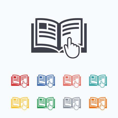 Ilustración de Instruction sign icon. Manual book symbol. Read before use. Colored flat icons on white background. - Imagen libre de derechos