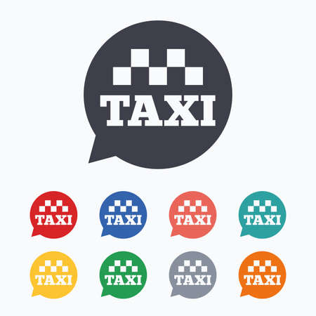Taxi speech bubble sign icon. Public transport symbol Colored flat icons on white background.