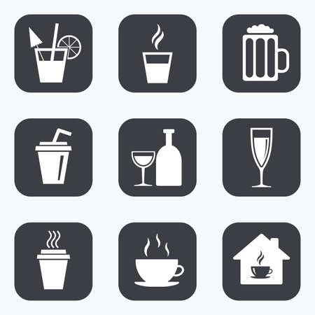 Illustration pour Tea, coffee and beer icons. Beer, wine and cocktail signs. Take away drinks. Flat square buttons with rounded corners. - image libre de droit