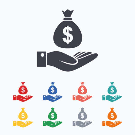 Illustration pour Dollar and hand sign icon. Palm holds money bag symbol. Colored flat icons on white background. - image libre de droit