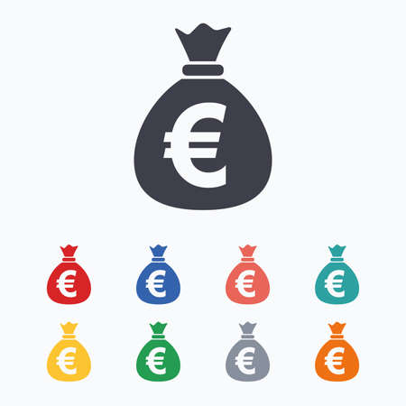 Illustration pour Money bag sign icon. Euro EUR currency symbol. Colored flat icons on white background. - image libre de droit