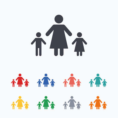 Illustration for One-parent family with two children sign icon. Mother with son and daughter symbol. Colored flat icons on white background. - Royalty Free Image