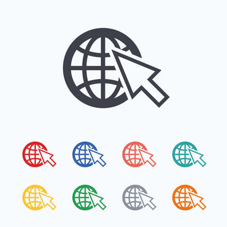 Internet sign icon. World wide web symbol. Cursor pointer. Colored flat icons on white background.