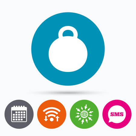 Wifi, Sms and calendar icons. Weight sign icon. Sport symbol. Fitness. Go to web globe.