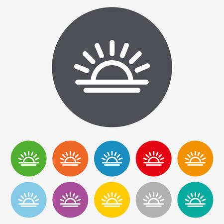 Illustration pour Light on icon. Lamp bulb or sunset symbol. Circle colourful buttons. - image libre de droit
