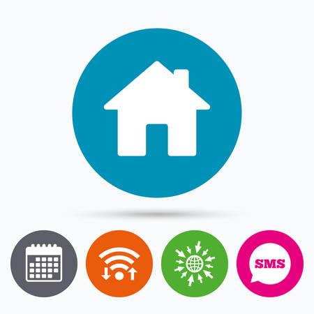 Illustration pour Wifi, Sms and calendar icons. Home sign icon. Main page button. Navigation symbol. Go to web globe. - image libre de droit