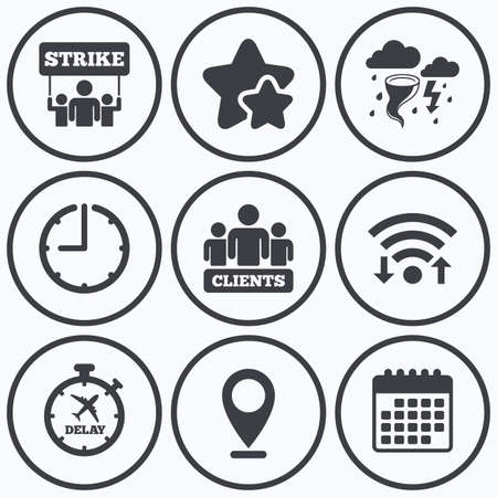 Clock, wifi and stars icons  Strike icon  Storm bad weather