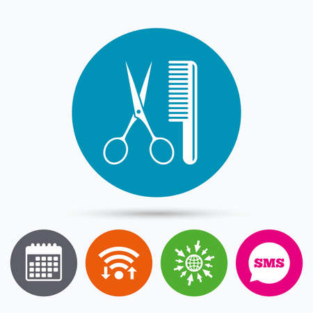Wifi, Sms and calendar icons. Comb hair with scissors sign icon. Barber symbol. Go to web globe.
