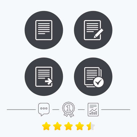 Illustration pour File document icons. Download file symbol. Edit content with pencil sign. Select file with checkbox. Chat, award medal and report linear icons. Star vote ranking. Vector - image libre de droit
