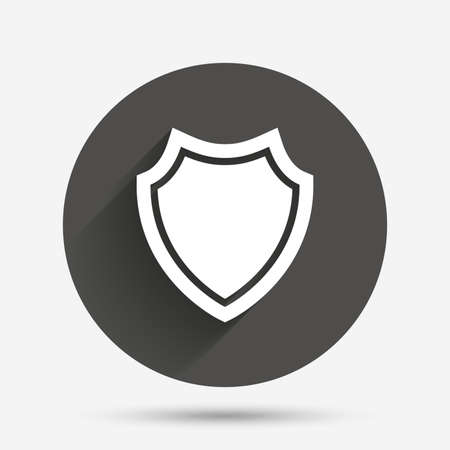 Illustration pour Shield sign icon. Protection symbol. Circle flat button with shadow. Vector - image libre de droit
