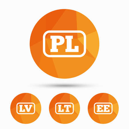 Language icons. PL, LV, LT and EE translation symbols. Poland, Latvia, Lithuania and Estonia languages. Triangular low poly buttons with shadow. Vector