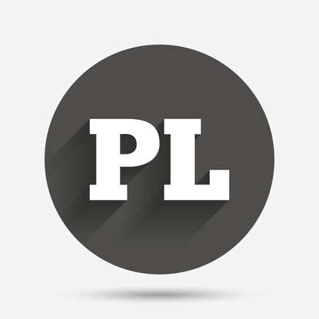 Polish language sign icon. PL translation symbol. Circle flat button with shadow. Vector