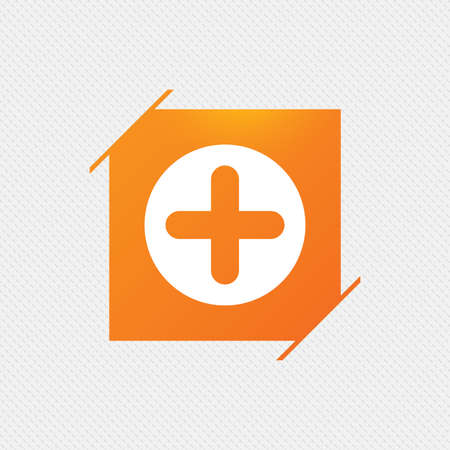 Plus sign icon. Positive symbol. Zoom in. Orange square label on pattern. Vector