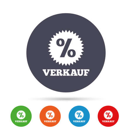 Verkauf - Sale in German sign icon. Star with percentage symbol. Round colourful buttons with flat icons. Vector