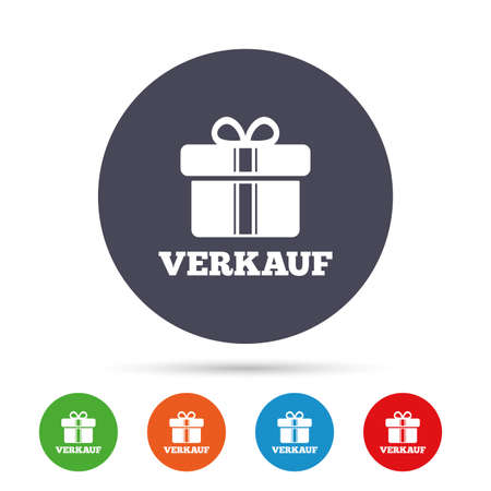 Verkauf - Sale in German sign icon. Gift box with ribbons symbol. Round colourful buttons with flat icons. Vector