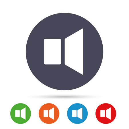 Illustration for Speaker volume sign icon. Sound symbol. Round colourful buttons with flat icons. Vector - Royalty Free Image