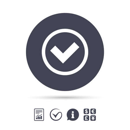 Check mark sign icon. Yes circle symbol. Confirm approved. Report document, information and check tick icons. Currency exchange. Vector