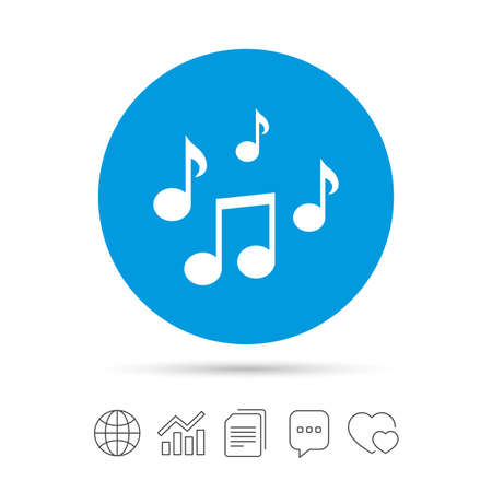 Music notes sign icon  Musical symbol  Copy files, chat speech