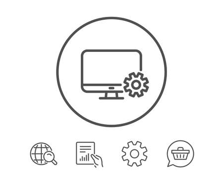Computer or Monitor icon. Service Cogwheel sign. Personal computer symbol. Hold Report, Service and Global search line signs. Shopping cart icon. Editable stroke. Vector