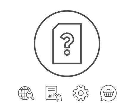 Unknown Document line icon. File with Question mark sign. Untitled Paper page concept symbol. Hold Report, Service and Global search line signs. Shopping cart icon. Editable stroke. Vector
